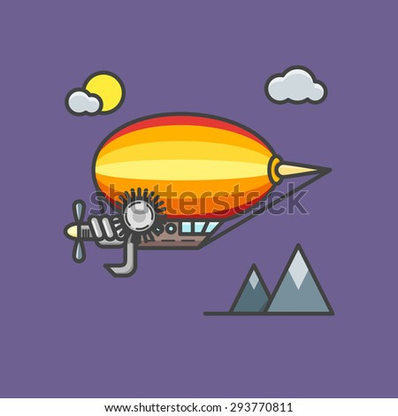 Vector illustration of flat steampunk dirigible - stock vector