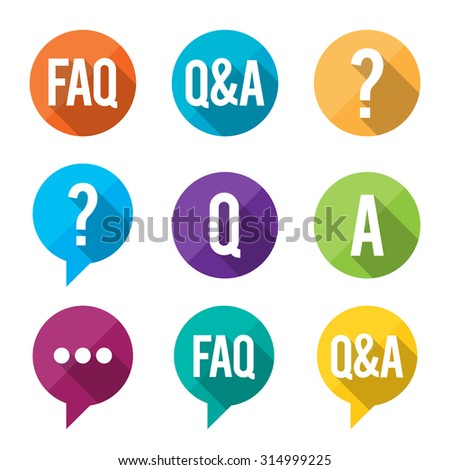 Vector illustration of flat-styled Frequently Asked Question or FAQ symbols. - stock vector