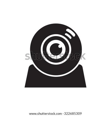 Vector illustration of flat web camera icon. - stock vector