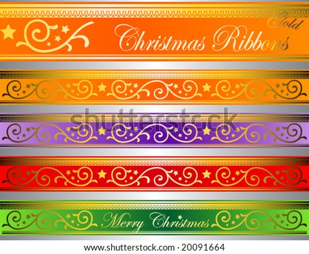vector illustration of floral christmas ribbons on luminous glass (easy to edit colors) - stock vector