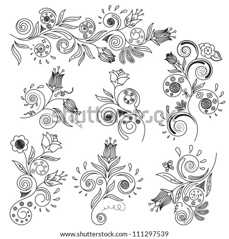 Vector illustration of floral design elements - stock vector