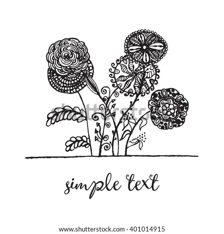 Vector illustration of floral frame with feathers zen tangl, dudling. Black and white.