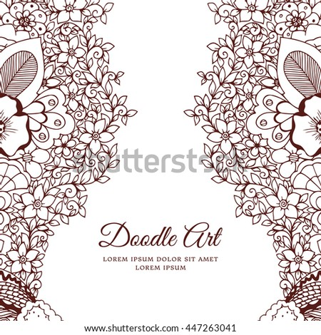 Vector illustration of floral frame Zen Tangle. Dudlart. Coloring book anti stress for adults. Brown and white.