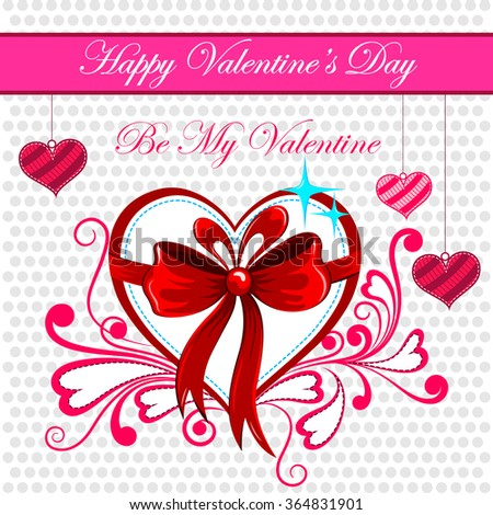 vector illustration of floral heart in Happy Valentine's Day background - stock vector