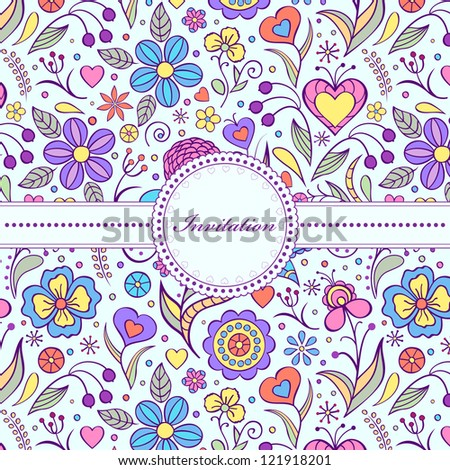 Vector illustration of  floral invitation card ( or place your text)