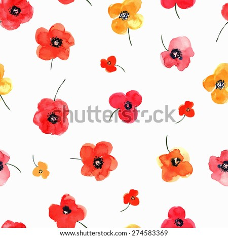 Vector illustration of floral seamless. Red and yellow isolated poppies on a white background, drawing watercolor. - stock vector