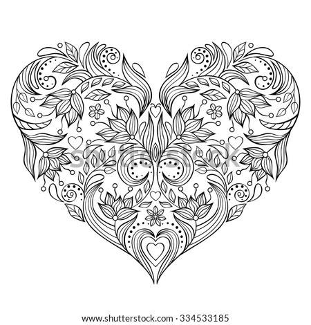 Vector illustration of floral valentines heart isolated on white background. - stock vector
