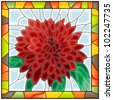 Vector illustration of flower red chrysanthemum in stained glass window with frame. - stock photo
