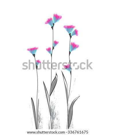 Vector illustration of flowers on a white background - stock vector