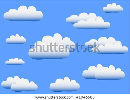 Vector illustration of fluffy white clouds on a blue sky background.