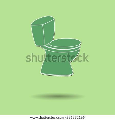 Vector illustration of  Flush toilet color background. - stock vector