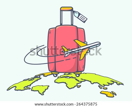 Vector illustration of flying air plane around red travel suitcase on green planet background. Hand draw line art design for web, site, advertising, banner, poster, board and print. - stock vector