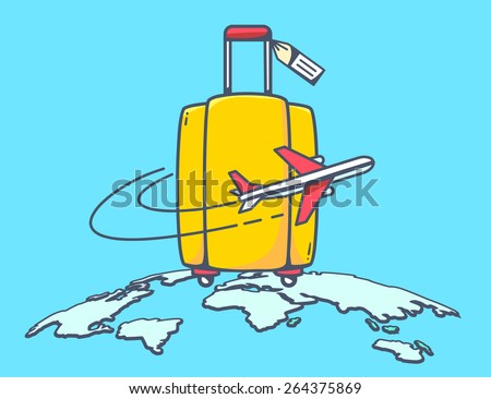 Vector illustration of flying air plane around yellow travel suitcase on blue planet background. Hand draw line art design for web, site, advertising, banner, poster, board and print. - stock vector