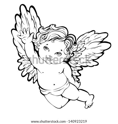 Vector illustration of flying angel or cupid - stock vector