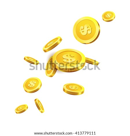 Vector Illustration of flying golden coins. Isolated on white.  - stock vector