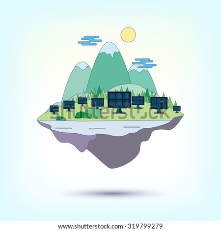 Vector illustration of flying island with mountains and trees with solar energy  - stock vector