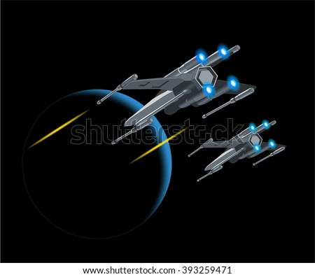 Vector illustration of flying Spaceship