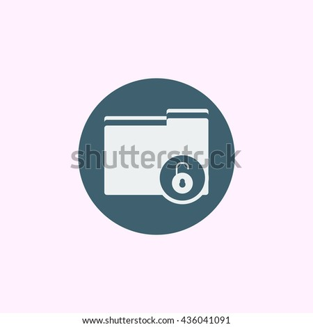 Vector illustration of folder open sign icon on blue circle background.