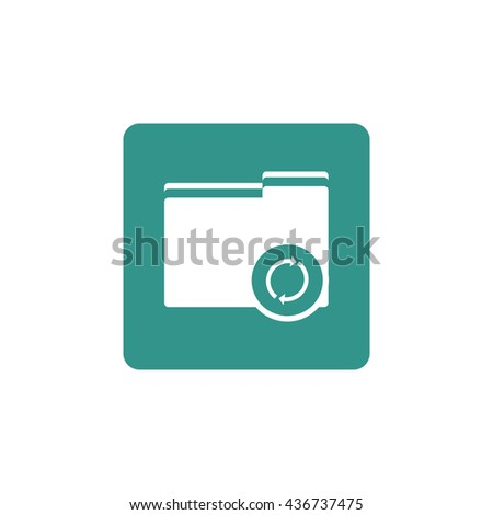 Vector illustration of folder refresh sign icon on green background.