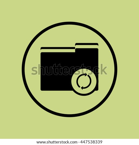 Vector illustration of folder refresh sign icon on green circle background.