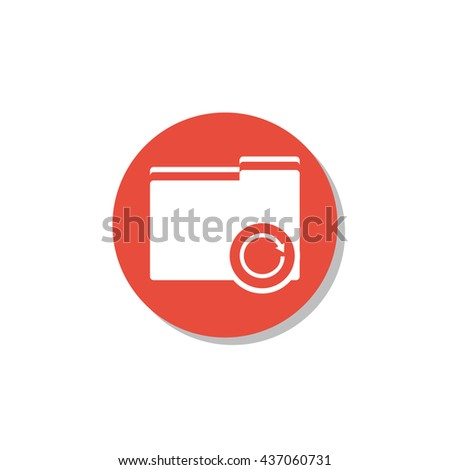 Vector illustration of folder reload sign icon on red circle background.