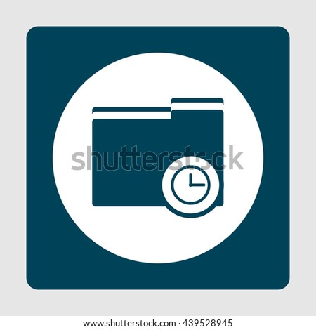 Vector illustration of folder time sign icon on blue background.