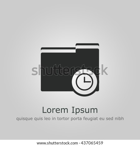 Vector illustration of folder time sign icon on grey background.