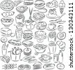 vector illustration of  food and drink collection in black and white - stock vector