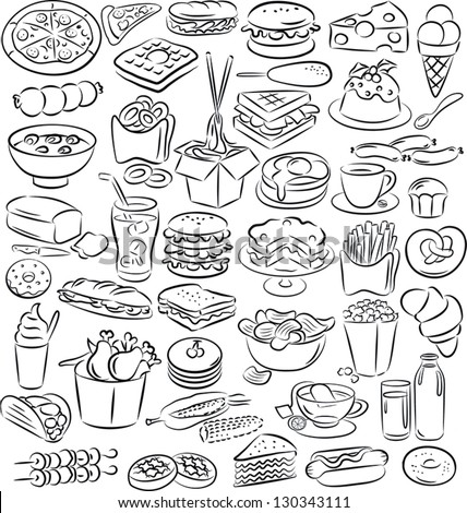 vector illustration of  food and drink collection in black and white