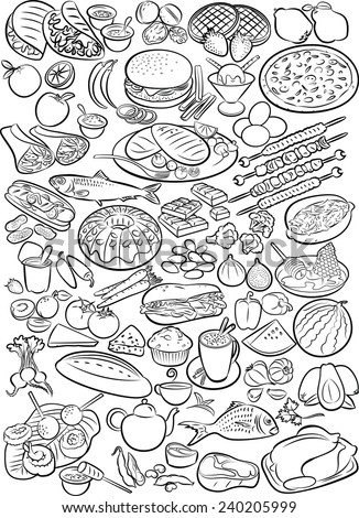 Vector illustration of food collection in line art mode - stock vector