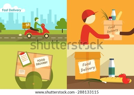 Vector illustration of food delivering. Hands to hands dinner. - stock vector