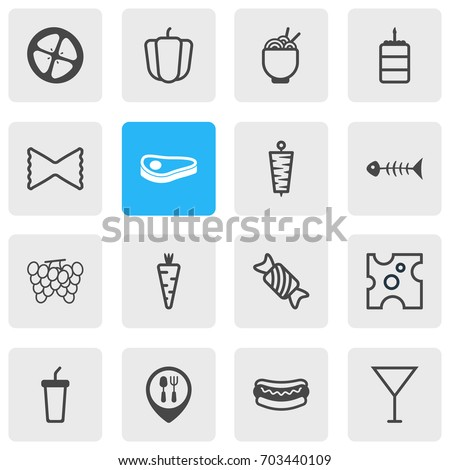 Vector Illustration Of 16 Food Icons. Editable Pack Of Love Apple, Soft Drink, Veggie And Other Elements.