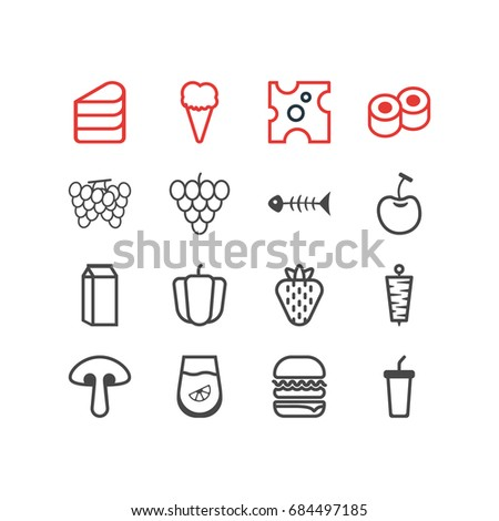 Vector Illustration Of 16 Food Icons. Editable Pack Of Soft Drink, Berry, Milk And Other Elements.