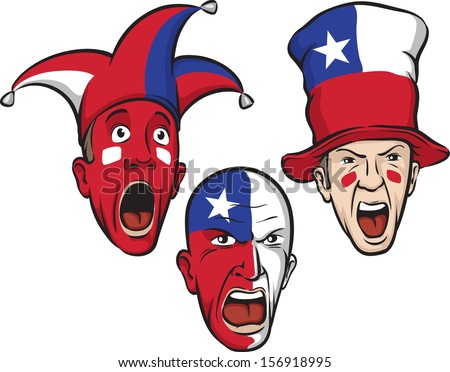 Vector illustration of football fans from Chile. Easy-edit layered vector EPS10 file scalable to any size without quality loss. High resolution raster JPG file is included.  - stock vector
