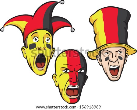 Vector illustration of football fans from Germany. Easy-edit layered vector EPS10 file scalable to any size without quality loss. High resolution raster JPG file is included.  - stock vector