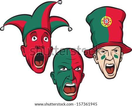 Vector illustration of football fans from Portugal. Easy-edit layered vector EPS10 file scalable to any size without quality loss. High resolution raster JPG file is included.