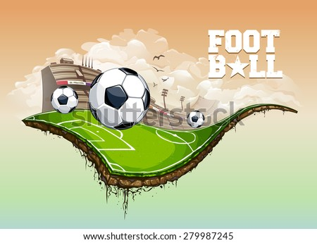 Vector illustration of football field hovering in the sky. Vector art. - stock vector