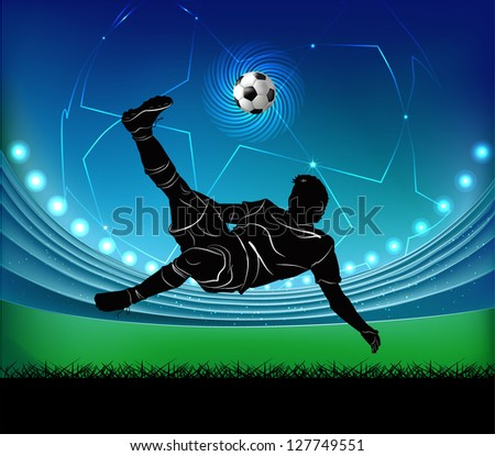 Vector illustration of football player kicking the ball in jump silhouette over football stadium background. - stock vector