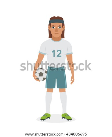 Vector illustration of football soccer player with long hairs, standing with ball in hand isolated on white background