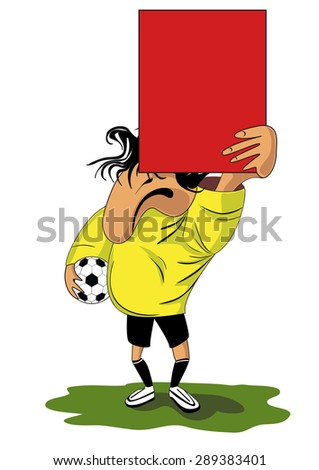 Vector illustration of  football (soccer) referee with red card - stock vector