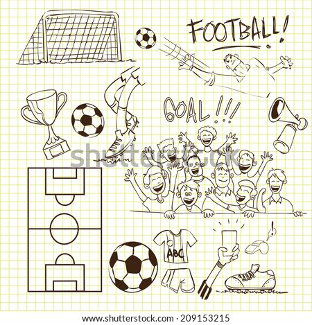 Vector illustration of football theme in doodle style - stock vector