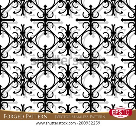 Vector illustration of forged metal fence seamless pattern. - stock vector