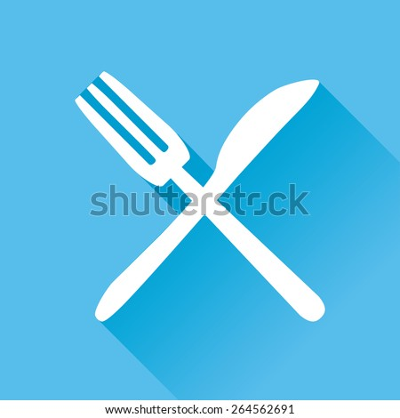 Vector illustration of fork and knife flat icon in blue square background with diagonal shadow - stock vector