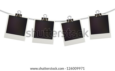 Vector illustration of four blank retro polaroid photo frames over white background - stock vector