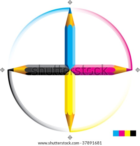 Vector illustration of four cmyk colored pencils as a cross. - stock vector