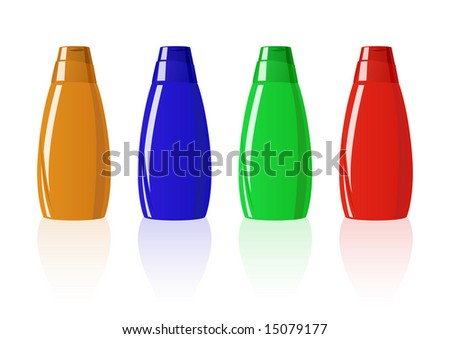 Vector illustration of four colored shampoo bottles