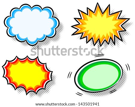 Comic Book Action Bubbles Vector