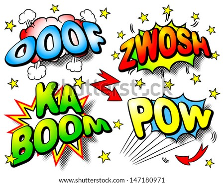 vector illustration of four colorful effect bubbles with ooof, zwosh, ka boom, pow - stock vector