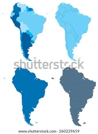 Vector illustration of four different blue maps of South America. Global colors used.  - stock vector