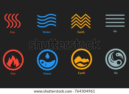 Vector Illustration Four Elements Icons Line Stock Vector 764304961